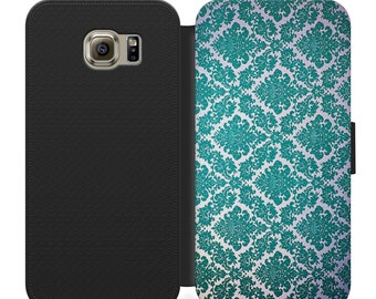 Vintage blue pattern flip wallet phone case for iphone 4 5 6 7, Samsung s2 s3 s4 s5 s6 s7 plus more
