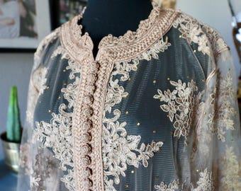 Vintage Embroidered Sheer Kaftan, Ethnic Caftan, Sequin