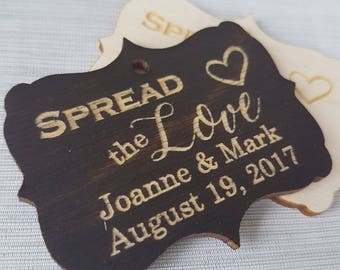 Laser Engraved 'Spread The Love' Wood Tags