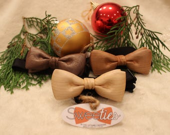 Toddler Hand carved Wooden Bow Ties