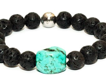Lava Stone with Chunky Square Turquoise Bracelet