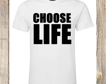 CHOOSE LIFE T Shirt Wham George Michael Inspired 80S Retro 1980'S dress up