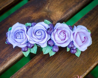 French barrette with roses