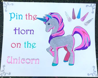Custom Pin the Horn on the Unicorn Party Game