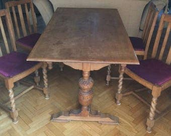 SOLD 4 x 1930's oak chairs