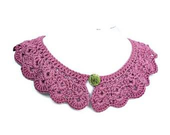 Crochet Collar, Lilac Crochet Collar, Vintage Style, Retro Cotton Collar, Lilac Collar, Crochet Accessories, Detachable Collar,