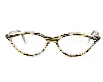 Flattering & sexy almond shaped 'AMELIE' in Tiger Crystal contemporary designer Cat Eye Glasses. Handmade for you. Rx or readers
