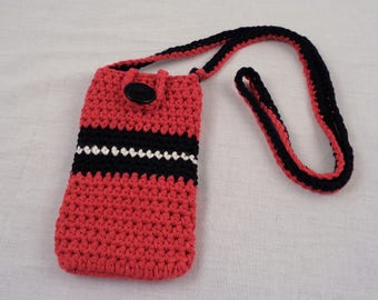 Crochet Cotton Cross Body Cell Phone Tote with Lining