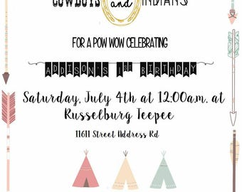 Cowboys and Indians Birthday Girl Invitations