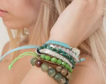 Set of 3 Green Bracelets with Eye Charm