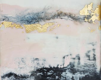 "Abstract ""Blush 1"" Encaustic Painting, Contemporary Wall Art Abstract with Pink and Gold Color, Encaustic Wax painting, Modern Artwork"