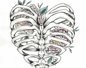 Ribcage With Peonies Print