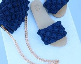 Crochet greek leather sandals