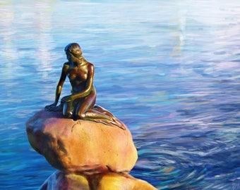 Digital art illustration the little Mermaid