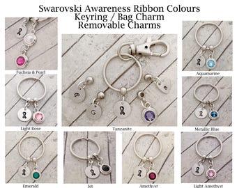 Swarovski awareness ribbon keyring, removable crystal charms - add on 12mm initial pendant