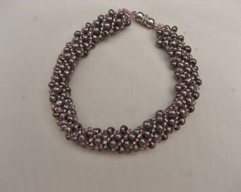 Russian Spiral Bracelet in Gray and Pink