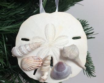 Real Sand Dollar and Seashell Shell Christmas Ornament #1003
