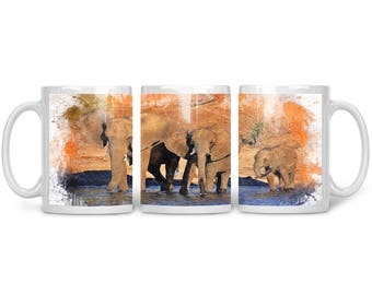 11oz Elephant Coffee Mug  - Watercolor - 10% Donation to organization of choice!