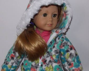 Fleece Jacket with a Zipper and Hood for 18'' Dolls. (Clothes only, American Girl doll, Nicki, is not included) Handmade Coat. Toy doll coat