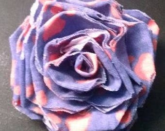 Fabric Rose Barrette Paw Print