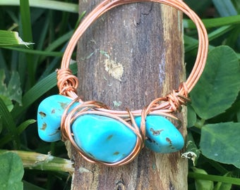 Turquoise, copper, wire ring