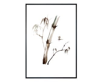 Watercolor painting FINE ART PRINT 'bamboo', nature, plants