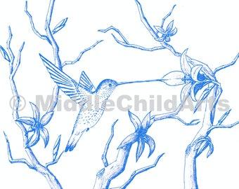 Blue Humming Bird Print - Instant Download