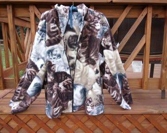 Handmade Hooded Fleece Cat Print Jacket