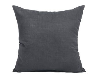 Kdays Washed Cotton Canvas Dark Gray Pillow Cover Decorative For Couch Throw Pillow Case Handmade Cushion Covers Solid Color Cotton Pillow