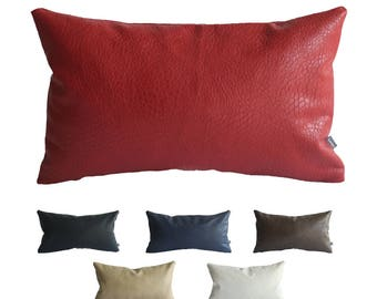 kdays faux leather elephant red pillow cover 12x20 inches decorative for couch throw pillow case handmade