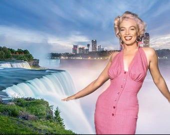HEAD-TURNING! - Marilyn Monroe 'Niagara' 1950s Inspired Hot Pink Halter Neck Dress