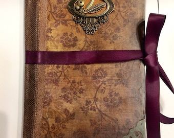Handmade Journal / Diary / scrapbook / vintage / Victorian / Shabby Chic / Steampunk gifts for her gifts for writers gifts for women mom