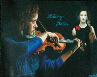 An awesome acrylic painting of Hilary Hahn