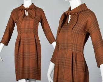XXS Pencil Dress Wool Thanksgiving Dress Vintage 1950s Tartan Plaid Hourglass Dress 50s Fall Autumn
