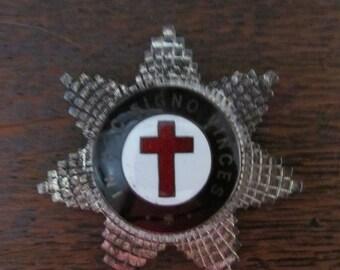 Masonic Knights Templar In Hoc Signo Vinces Sash Badge STERLING SILVER