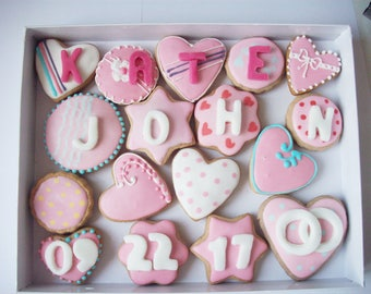 a box of cookies with a message,decorated cookies, sweet gift, wedding invitation