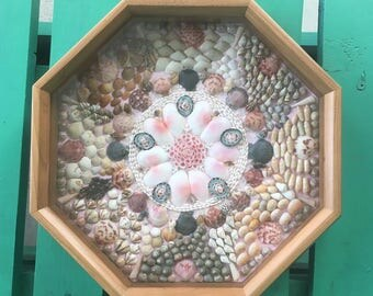 "Sailor's Valentine in high quality 10"" cherry frame, handmade seashell mosaic, ultimate Valentine's Day Gift! Nautical Beach Dec"
