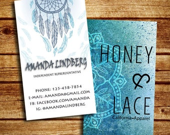 Honey and Lace Business Cards, Personalized, Double Sided Honey and Lace Business Cards, Honey and Lace Marketing