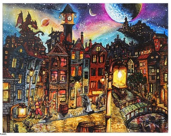 "Original marker artwork ""Amsterdam Nights"""