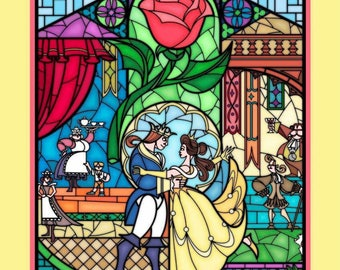 Beauty and The Beast Fabric, Panel, Stained Glass, Full Yard Panel, By the Yard, Disney Panel, Disney Stained Glass, TheFabricEdge