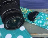 Camera Strap Cover with Lens Pocket Ready to Ship Canon Nikon DSLR Photographer Photography #118 Teal Blue Flowers Polka Dots Dot