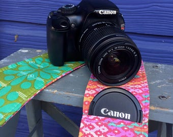 Camera Strap Cover with Lens Pocket Ready to Ship Canon Nikon DSLR Photographer Photography #101 Green Pink Orange Floral Tula Pink Fabric