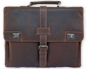 Diallo Mens leather briefcase brown - Leather briefcase men - Mens briefcase bag - Travel briefcase - Leather messenger bag - Laptop  bag