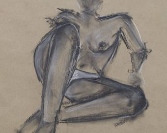 Original nude drawing in pencil and pastel chalk, naked woman in the Studio, easy, drawing, sketch