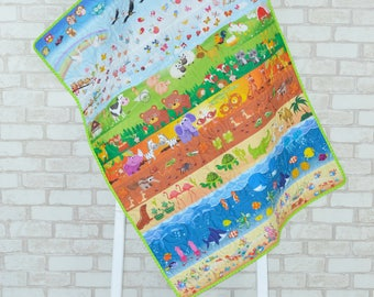 Animals Quilt/ Girl Quilt/ Baby Quilt/ Toddler Quilt/ Organic Hemp Quilt/ Organic Quilt/ Modern Quilt