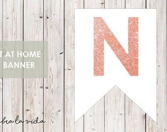 DIY Banner - 'N'. Instant Download. Printable Banner Letters. Pink Glitter. - 01