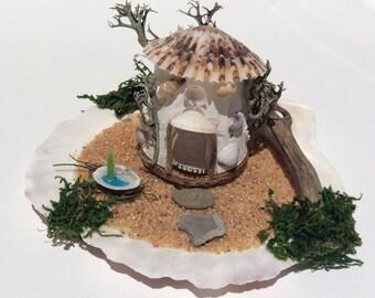 Fairy beach house scene, fairy garden accessories, sea shell