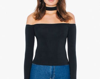 Off the shoulder Choker Top by American Apparel Black Medium Blank
