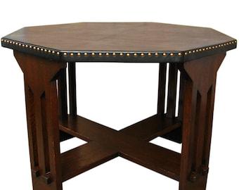 Antique Michigan Chair Company Game Table W1067 (Stickley Era)