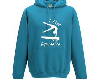 iLeisure Girls Personalised Gymnast Balance Beam Design Hooded Top with White/Black Print